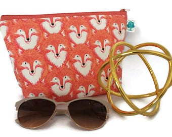 Large Cosmetic Bag - Makeup Bag - Accessory Bag -  Make up Bag - Toiletry Bag - Gadget Bag - Jewelry Pouch in Orange Fox