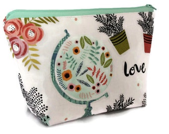 Large Cosmetic Bag - Makeup Bag - Accessory Bag - Make up Bag - Toiletry Bag - Gadget Bag -  Jewelry Pouch in Globe Love Travel