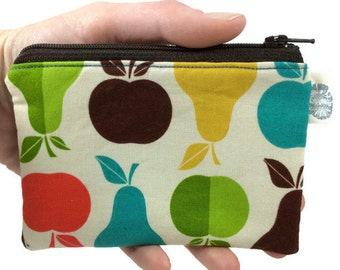 Coin Purse Coin Bag Small Cosmetic Clutch in Apples and Pears