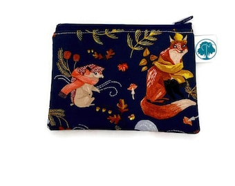 Autumn Woodland Coin Purse - Coin Bag - Change Purse - Small Cosmetic Bag - Zipper Pouch - Change Pouch