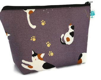 Large Cosmetic Bag - Makeup Bag - Accessory Bag - Make up Bag - Toiletry Bag - Gadget Bag -  Jewelry Pouch in Calico Cat