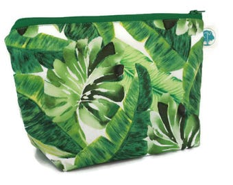 Large Cosmetic Bag - Makeup Bag - Accessory Bag - Make up Bag - Toiletry Bag - Gadget Bag -  Jewelry Pouch in Tropical Palm Leaves
