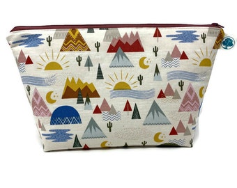 Southwest Desert - Extra Large Cosmetic Bag - Toiletry Bag - Travel Bag - Makeup Bag - Wet Bag - Accessory Pouch