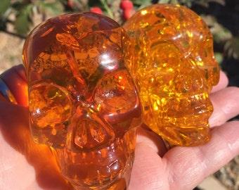 Amber Skull, Large Reconstituted Amber, Samhain, Halloween, Magic, Spells, Crystal grid, Altar, Skull, Dia de los Muertos, Day of the Dead!