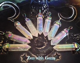 Angel Aura Quartz Pendant, Angel Aura Necklace, Pendulum, Sacred Adornment, Double Terminated, Metaphysical, Crystal Jewelry!