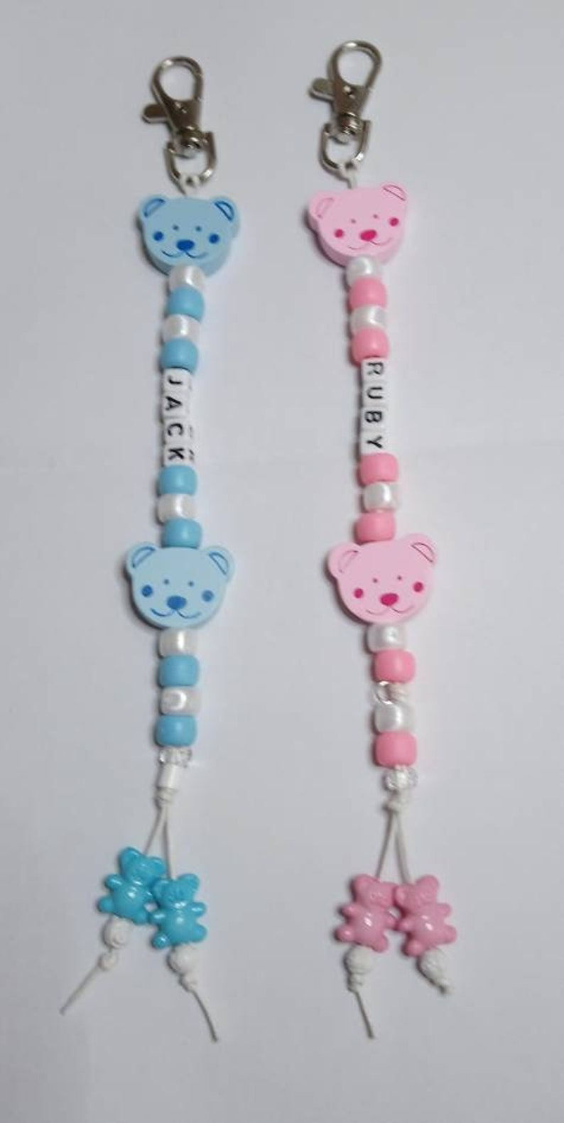 Personalised Pram Charm Any Name Blue  Beads Newborn Baby Nappy Bag Changing Bags Baby Changing & Nappies