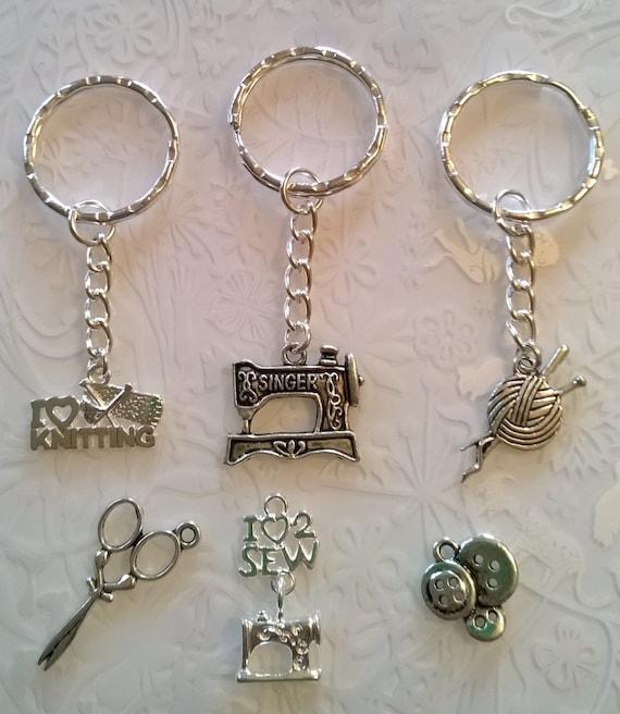 Singer Sewing Machine Key Chain Vintage Antique Silver Pendant Charm Keychain