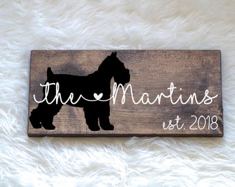 Last Name Wood Sign with Schnauzer Silhouette Wedding Signs, Last Name, Wedding Gift, Dog Wedding Gift, Anniversary Gift, Entryway