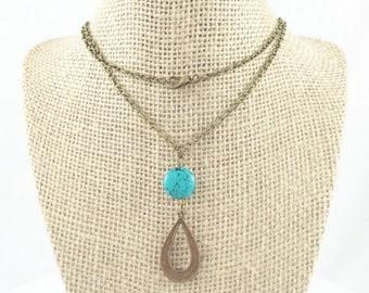 Long Teardrop Necklace, Boho Turquoise Necklace, Teardrop Pendant Necklace, Turquoise Teardrop Necklace, Bohemian Jewelry Boho Birthday Gift