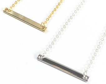 Gold Rectangle Necklace Gold Bar Necklace Dainty Bar Necklace Silver Bar Necklace Thin Bar Necklace Horizontal Bar Necklac Minimalist Jewlry