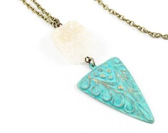 Long Triangle Necklace, Stone Triangle Necklace, Turquoise Triangle Necklace, Women Bohemian Necklace, Druzy Jewelry, Geometric Jewelry