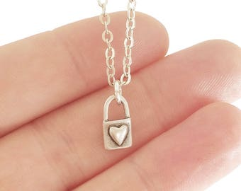 Heart Necklace, Silver Heart Necklace, Tiny Heart Necklace, Padlock Necklace, Dainty Jewelry, Love Jewelry, Valentine Gift for Girlfriend
