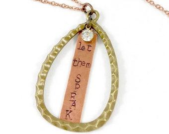 Let them Speak, Brass and Copper Teardrop Pendant Necklace