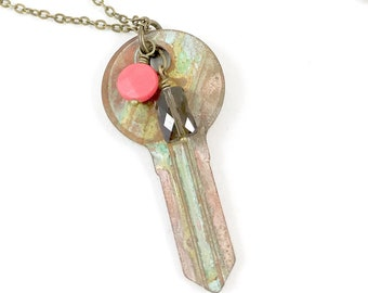 Key Necklace, Key Pendant Necklace, Patina Necklace, Key Jewelry, Patina Jewelry, Boho Jewelry, Key Gift, Unique Jewelry Necklaces for Women