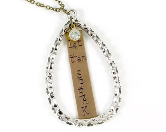 Let them Speak, Silver and Brass Teardrop Pendant Necklace