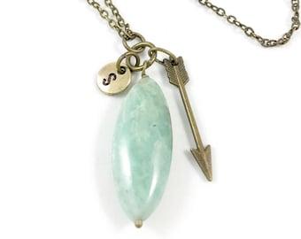 Amazonite Necklace, Amazonite Pendant Necklace, Amazonite Stone Necklace, Green Stone Jewelry, Amazonite Gemstone Jewelry, Boho Jewelry Gift