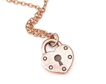 Lock Pendant Necklace, Copper Heart Necklace, Heart Lock Necklace, Heart Charm Necklace, Lock Jewelry, Memorial Jewelry, Anniversary Gift