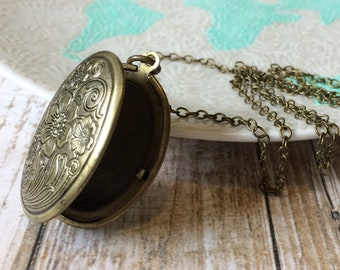 Necklace Pendant Locket Brass Locket Necklace Floral Locket Picture Locket Bronze Locket In Memory Jewelry Memorial Jewelry Keepsake Jewelry