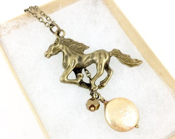 Horse Necklace, Horse Pendant Necklace, Horse Charm Necklace Western Jewelry Cowgirl Jewelry Equestrian Jewelry Horse Gifts for Horse Lovers