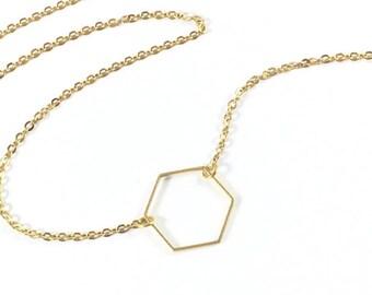 Hexagon Necklace, Gold Hexagon Necklace, Geometric Necklace, Minimalist Jewelry, Dainty Jewelry, Delicate Jewelry, Small Gifts for Women