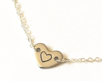 Stamped Heart Necklace, Silver Heart Necklace, Heart Initial Necklace, Always In My Heart, Forever In My Heart I Carry Your Heart Gift Heart