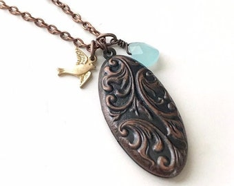 Copper Pendant Necklace, Oval Locket Necklace, Rose Gold Locket Necklace for Women, Boho Chic Jewelry Indie Jewelry Bohemian Gifts for Women