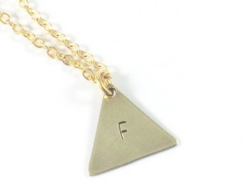 Stamped Initial Necklace, Gold Triangle Necklace, Geometric Necklace, Women Personalized Jewelry, Sympathy Jewelry, In Remembrance Gifts
