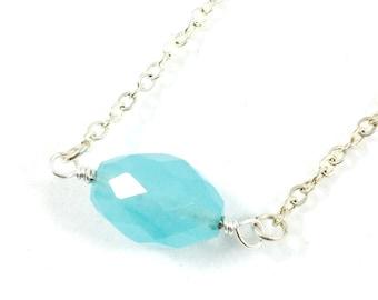 Blue Chalcedony Necklace, Blue Stone Necklace, Blue Crystal Necklace, Dainty Jewelry, Minimalist Jewelry, Gemstone Jewelry, Gift for Her