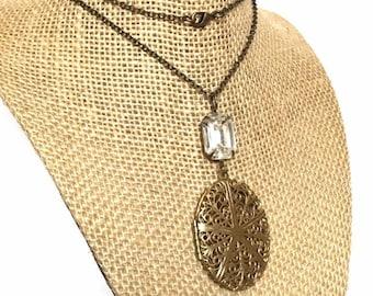 Women Locket Necklace, Crystal Locket Necklace, Large Locket Necklace, Statement Jewelry, MeaningfulJewelry, Keepsake Gift for Friends
