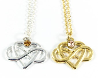 Infinity Necklace Silver Infinity Necklace Gold Infinity Necklace Infinity Heart Necklace Eternity Necklac Love Knot Jewelry Aniversary Gift