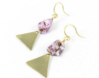 Dangle Triangle Earrings, Triangle Dangle Earrings, Triangle Drop Earrings, Geometric Earrings for Women, Bohemian Jewelry, Gypsy Jewelry