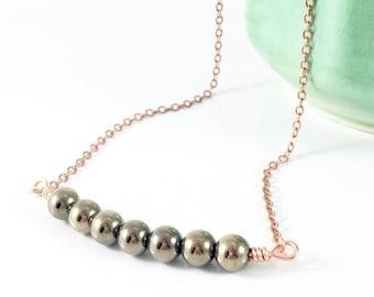 Hematite Necklace Women, Hematite Bead Necklace, Gemstone Bar Necklace Stone, Energy Jewelry Grounding Jewelry Calming Jewelry Healing Gifts