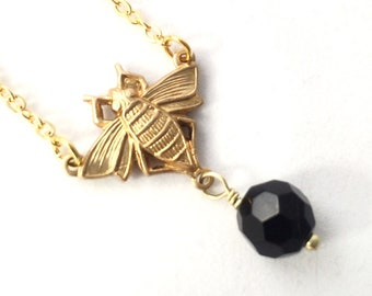 Bee Necklace, Gold Bee Necklace, Dainty Bee Necklace, Tiny Bee Necklace, Minimalist Jewelry, Bug Jewelry, Insect Jewelry, Bee Gift