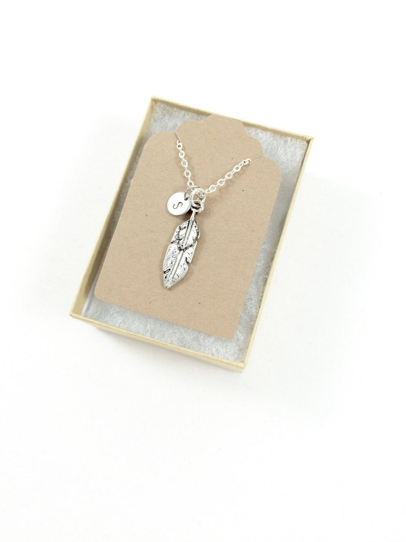 Bereavement Necklace Silver Feather Necklace Feather Pendant image 0