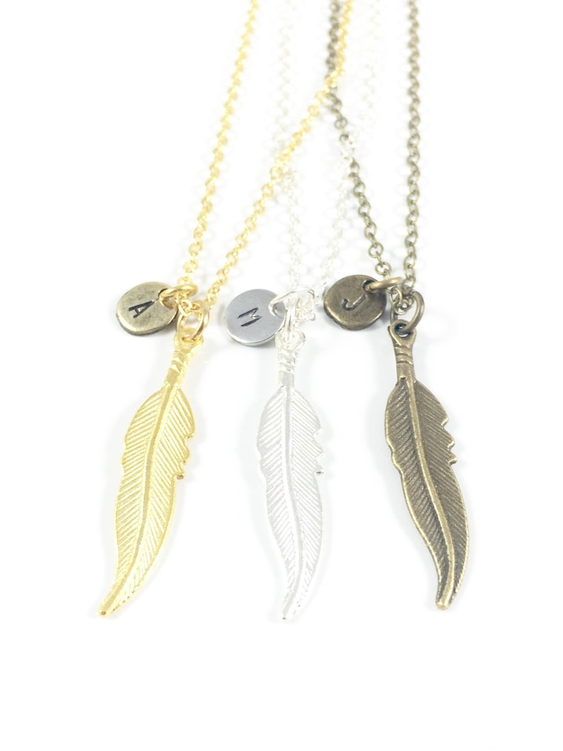 Feather Necklace Gold Feather Necklace Silver Feather image 0