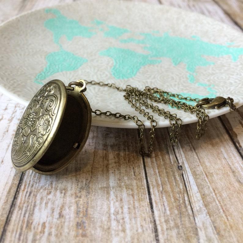 Bronze Locket Brass Locket Necklace Oval Locket Necklace image 0
