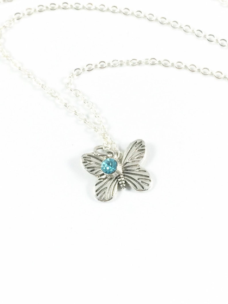 Butterfly Necklace Silver Butterfly Necklace Butterfly image 0