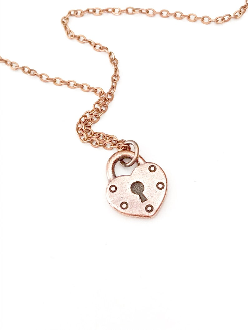 Copper Heart Necklace Heart Charm Necklace Lock Necklace image 0