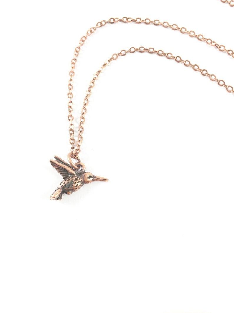 Bird Necklace Hummingbird Necklace Gold Hummingbird image 0