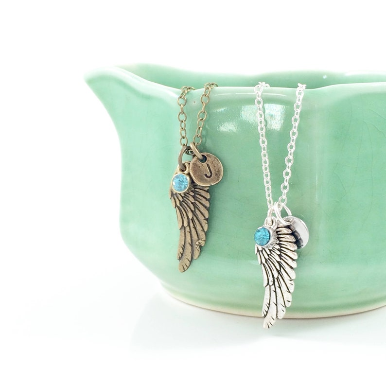 Angel Wing Necklace Guardian Angel Necklace Angel Jewelry image 0
