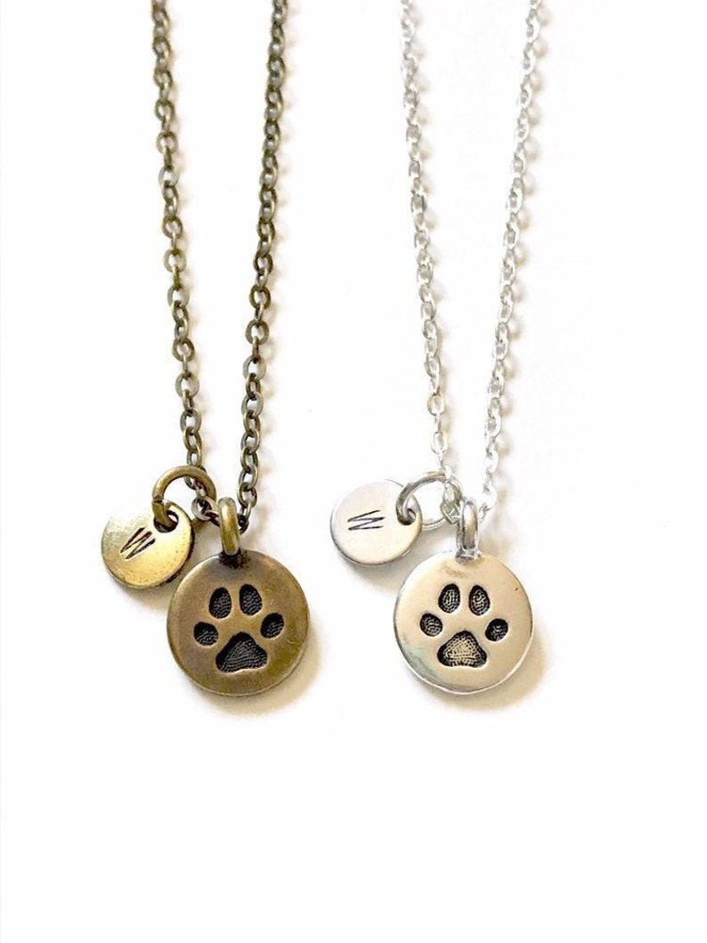 Pet Memorial Necklace Paw Print Necklace Dog Cat Necklace image 0