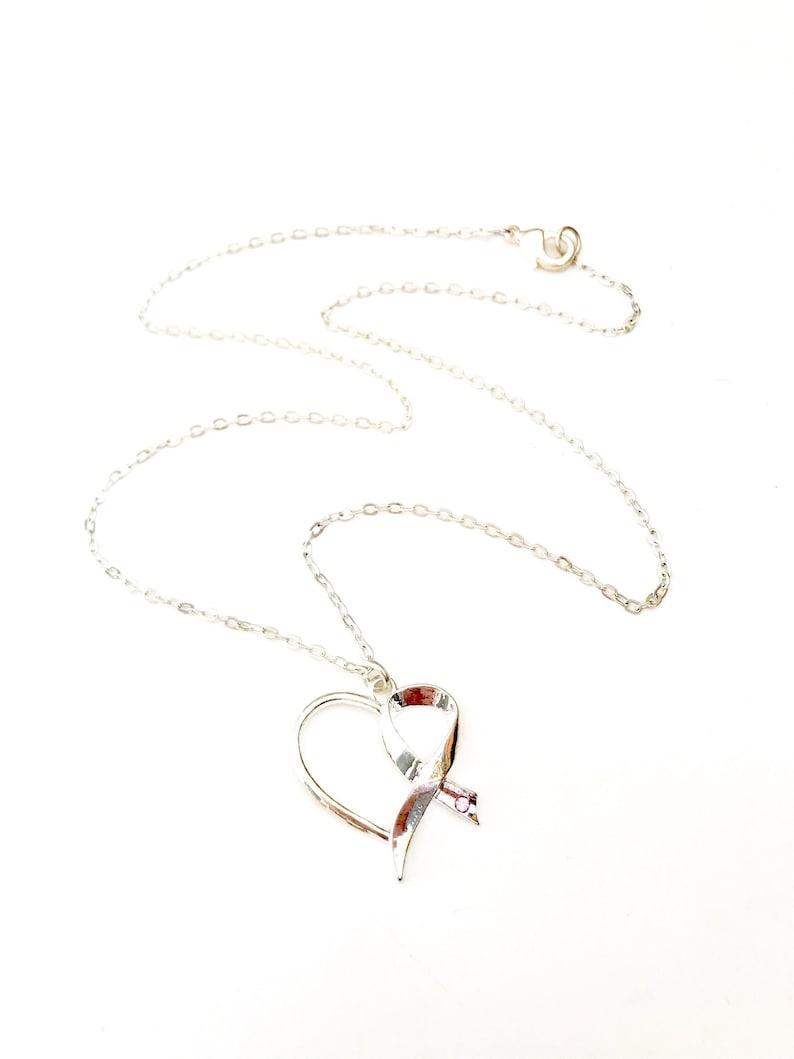 Survivor Necklace Ribbon Necklace Breast Cancer Necklace image 0
