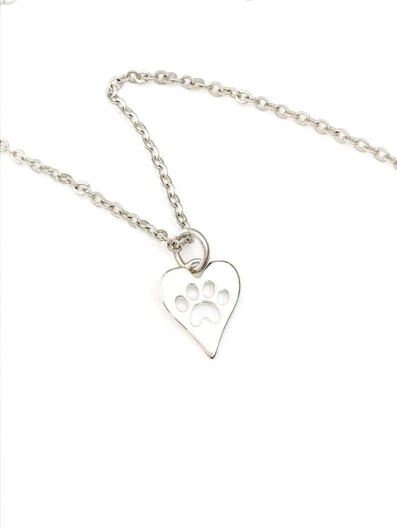 Paw Print Necklace Silver Paw Necklaces for Women Dog image 0