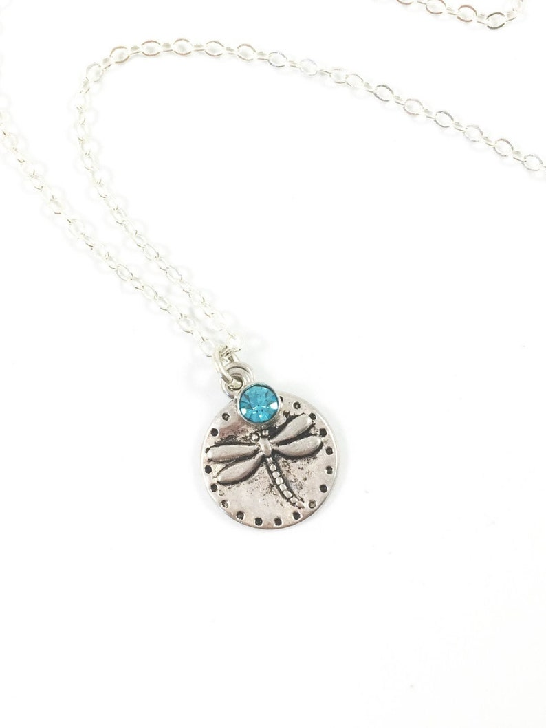 Keepsake Necklace Dragonfly Charm Necklace Silver Dragonfly image 0