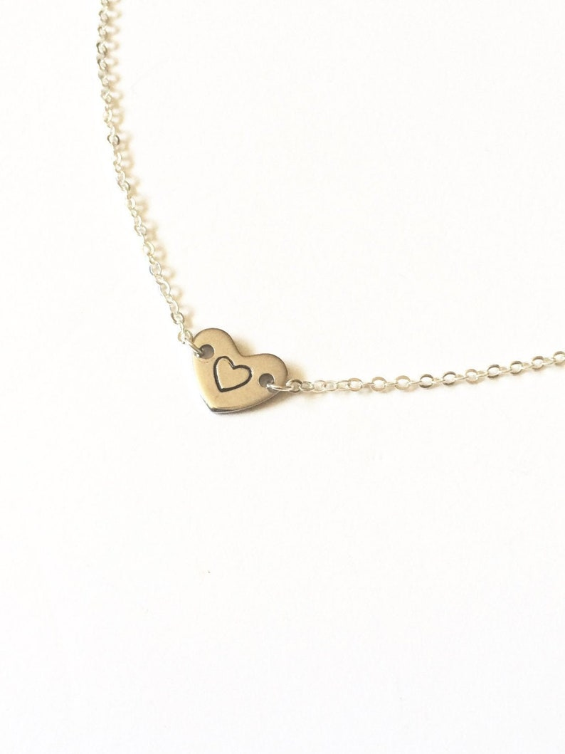 Stamped Heart Necklace Silver Heart Necklace Initial Heart image 0