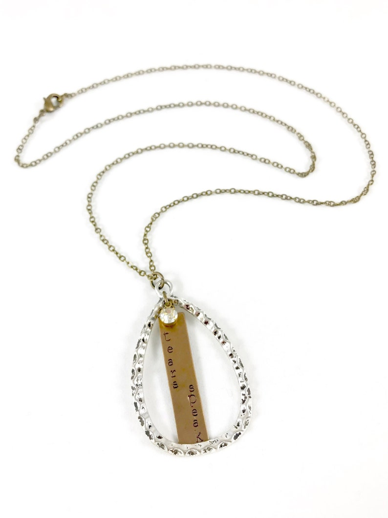 Silver and Brass Necklace Mixed Metal Necklace Teardrop image 0