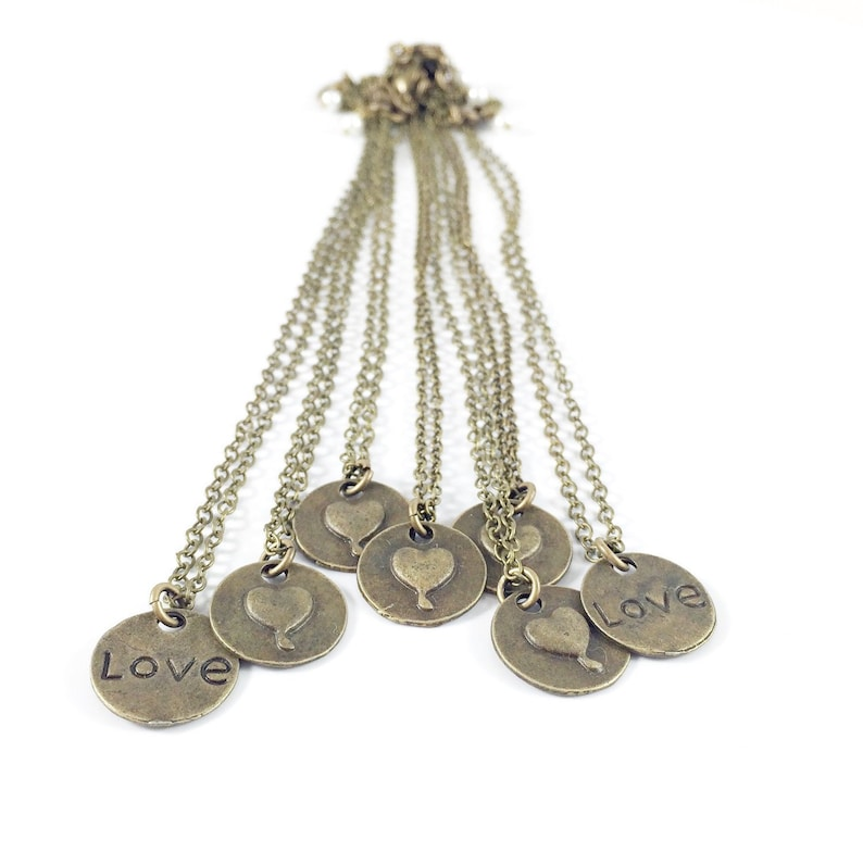 Heart Charm Necklace Brass Heart Necklace Simple Heart image 0