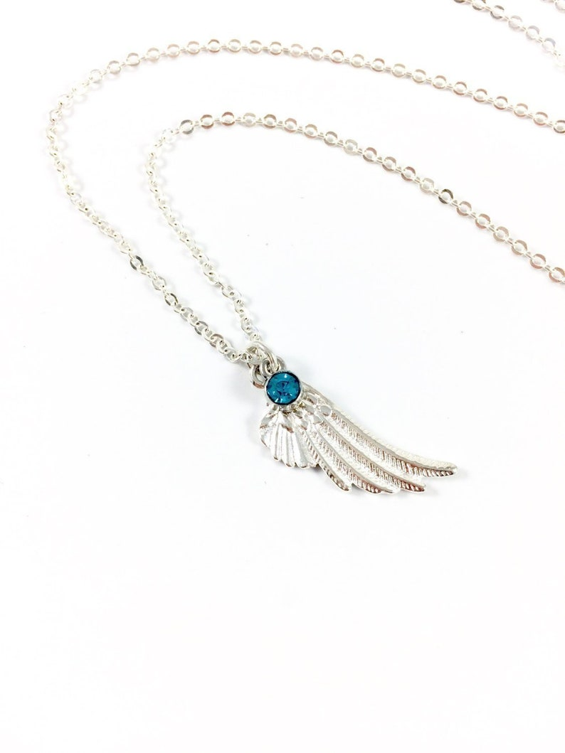 Angel Wing Necklace Silver Wing Necklace Memory Necklace image 0