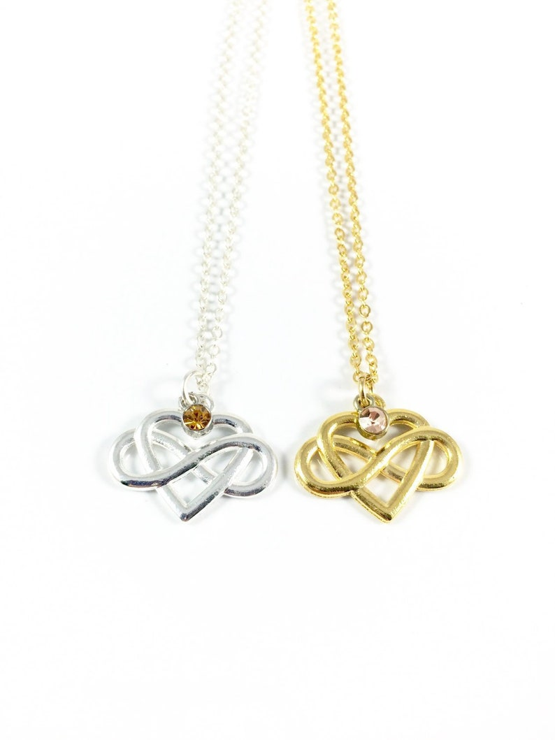 Infinity Heart Necklace Silver Infinity Necklace Gold image 0