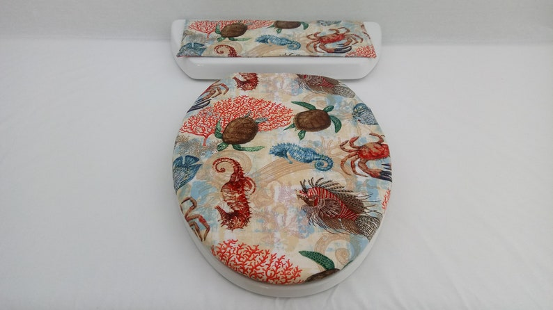 Surprising Sea Creatures Toilet Seat Cover Set Wedding Gift Basket For Bathroom Tropical Toilet Tank Topper Summer Washroom Decor Seahorse Crab Fish Lamtechconsult Wood Chair Design Ideas Lamtechconsultcom